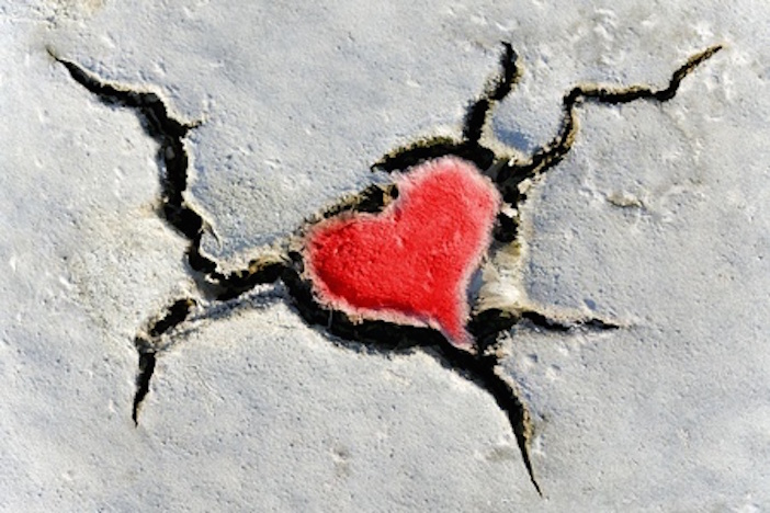 heart in cracked earth